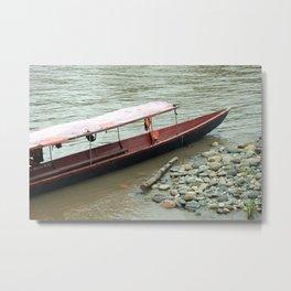 Beached River Boat Metal Print