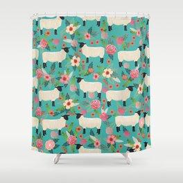 Sheep farm rescue sanctuary floral animal pattern nature lover vegan art Shower Curtain