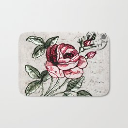 Shabby chic vintage rose and calligraphy Bath Mat