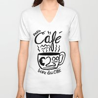 cafe V-neck T-shirts featuring Paris Cafe by Geryes