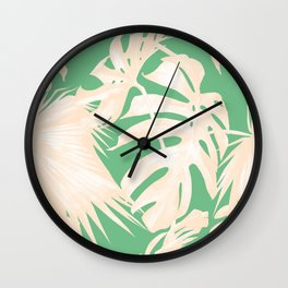 Tropical Coral Green Palm Leaf Pattern Wall Clock