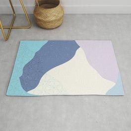 Elegant light blue colors geometric waves pattern   Japanese art Rug