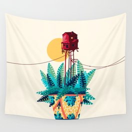 Potted house with plants Wall Tapestry