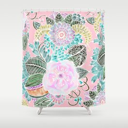 Blush pink lavender green white watercolor hand painted flowers Shower Curtain