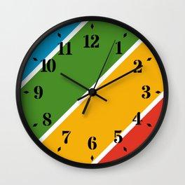 Colorful Diagonal Stripes Wall Clock