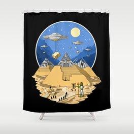 Alien Egyptian Pyramids Shower Curtain