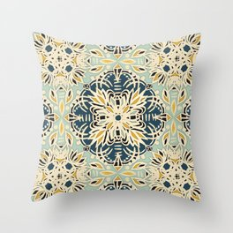 Protea Pattern in Deep Teal, Cream, Sage Green & Yellow Ochre  Throw Pillow