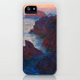 Claude Monet Impressionist Landscape Oil Painting Sunset At Sea Cliffs Ocean Cliff Landscape iPhone Case