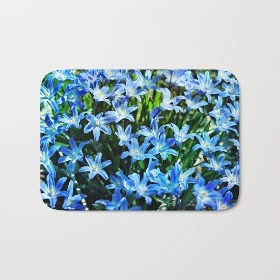 Blue Glory Snow Flowers Bath Mat