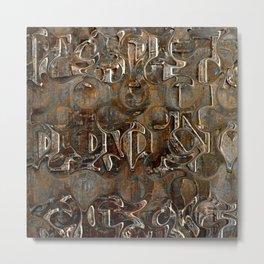 Bronze Metal Wood Abstract Painting Metal Print