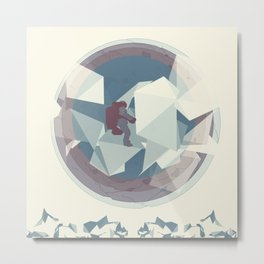 Astronaut and ice planet Metal Print