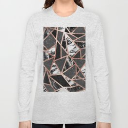Modern Rose Gold Glitter Marble Geometric Triangle Long Sleeve T-shirt