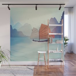 Chinese Boat on the water Wall Mural