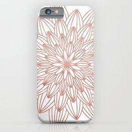 Rose Gold Mandala Flower on White IV iPhone Case