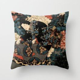 Garden of the Prosperous Blooms Triptych 3 Throw Pillow