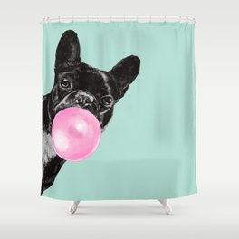 Bubble Gum Sneaky French Bulldog In Green Shower Curtain