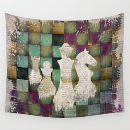 Paint and Print  Chessboard and Chess Pieces Wall Tapestry