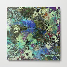 Deep In Thought - Black, blue, purple, white, abstract, acrylic paint splatter artwork Metal Print