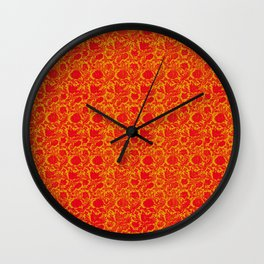 Red Flourescent Floral Pattern Wall Clock