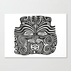 Maori Moko | Tribal Tattoo | New Zealand | Black and White Canvas Print