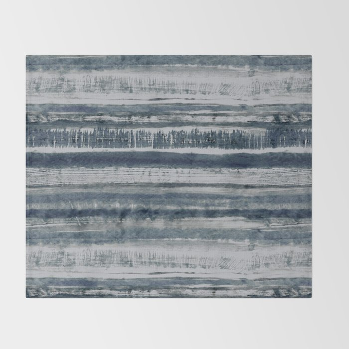 Expressive Indigo Watercolor Stripe Throw Blanket