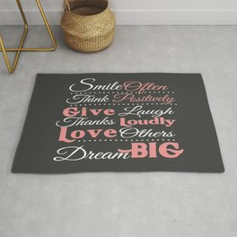 Smile Often, Think Positively Dream Big Inspirational Rug
