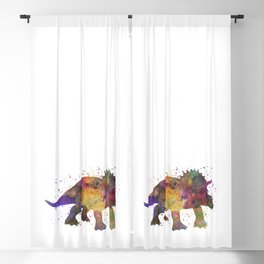 Triceratops dinosaur in watercolor Blackout Curtain
