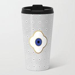 Mati Evil eye protection floral pattern on white Travel Mug