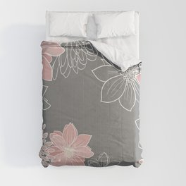Festive, Floral Prints and Line Art, Pink and Gray Comforters