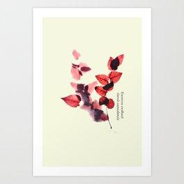 Vintage leaf watercolor painting #6 - Eastern redbud - Cercis canadensis Art Print