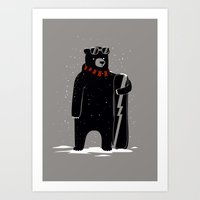snowboard Art Prints featuring Bear on snowboard by SpazioC