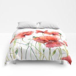 Spring Poppies Papaver Meadow Red Poppies White and Red Watercolor Comforters