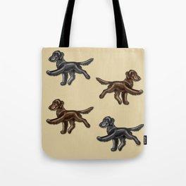 Flat Coated Retrievers Black and Liver Tote Bag