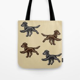 Flat Coated Retrievers Black and Liver Tote Bag