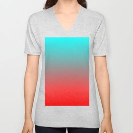 Cyan to red ombre flames Miami Sunset Unisex V-Neck