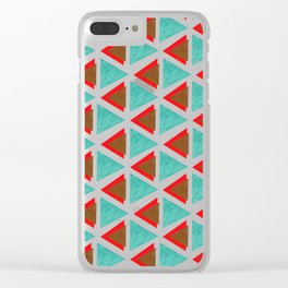 Big red and blue triangles Clear iPhone Case