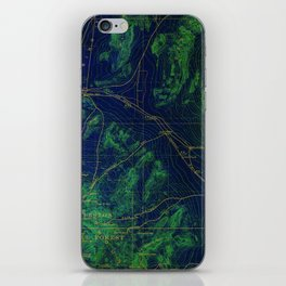 Las Vegas old map year 1908, Las Vegas antique map, green and blue iPhone Skin