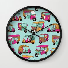 India rickshaw illustration pattern Wall Clock