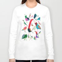 birds Long Sleeve T-shirts featuring  Birds by Ashley Percival illustration