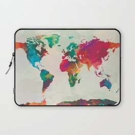 Watercolor World Map Laptop Sleeve