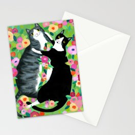 lovebirds CATS in flower garden painting by TASCHA Stationery Cards