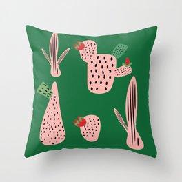 Mid Mod Cactus Green Throw Pillow