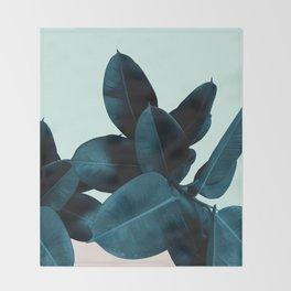 Blue Leaves Throw Blanket