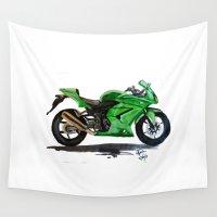 ninja Wall Tapestries featuring Kawasaki Ninja by AshyGough