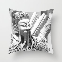 Buddhist Temple Guard Throw Pillow