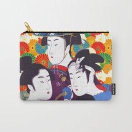 Geisha, Three Young Men or Women, Restored Antique Ukiyo-e Color Japanese Woodblock Print by Utamaro Kitagawa Carry-All Pouch