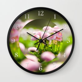 Bellis perennis pomponette called daisy Wall Clock