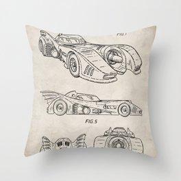 Batmobile Patent - Bat Mobile Art - Antique Throw Pillow