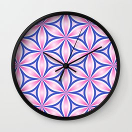 Bright floral pattern - repeating, continues leaf shapes Wall Clock