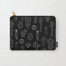Cactus Silhouette White And Black Carry-All Pouch